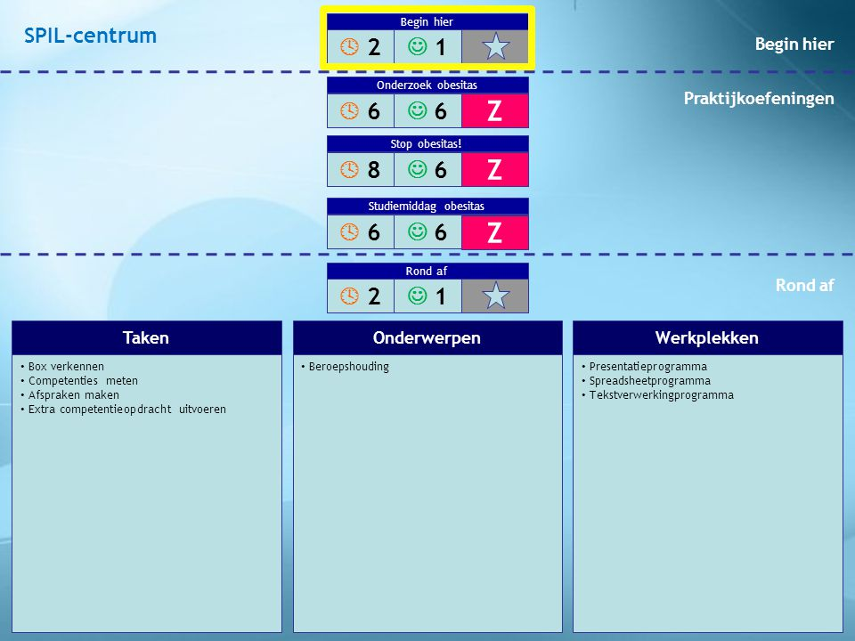 Box verkennen Competenties meten Afspraken maken Extra competentieopdracht uitvoeren Beroepshouding Presentatieprogramma Spreadsheetprogramma Tekstver