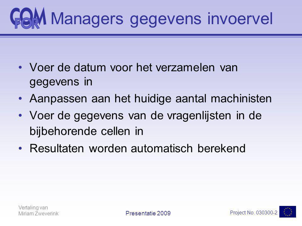 Vertaling van Miriam Zweverink Project No. 030300-2 Presentatie 2009 Managers gegevens invoervel Voer de datum voor het verzamelen van gegevens in Aan