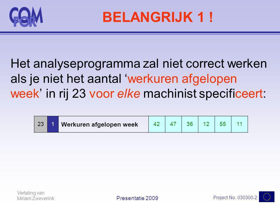 Vertaling van Miriam Zweverink Project No. 030300-2 Presentatie 2009 BELANGRIJK 1 ! Het analyseprogramma zal niet correct werken als je niet het aanta
