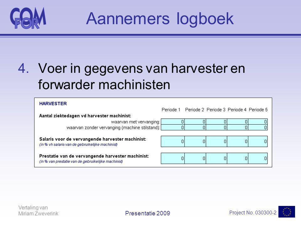 Vertaling van Miriam Zweverink Project No. 030300-2 Presentatie 2009 Aannemers logboek 4.Voer in gegevens van harvester en forwarder machinisten