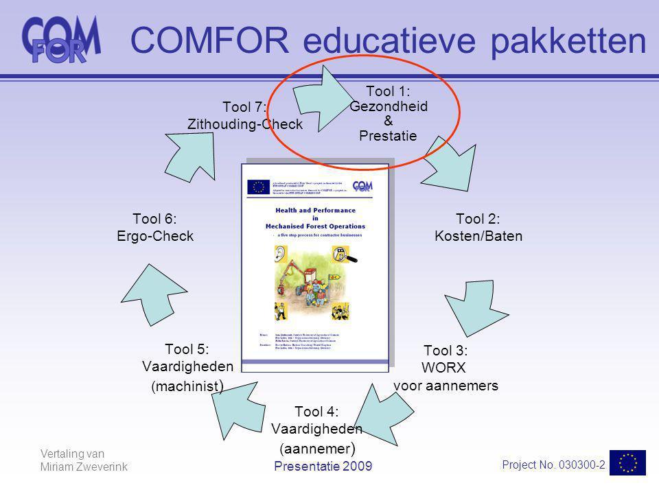 Vertaling van Miriam Zweverink Project No. 030300-2 Presentatie 2009 Tool 1: Gezondheid & Prestatie Tool 2: Kosten/Baten Tool 3: WORX voor aannemers T