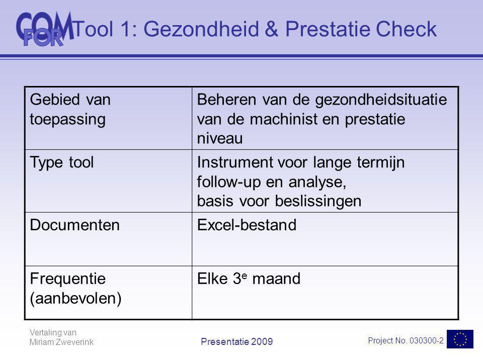 Vertaling van Miriam Zweverink Project No. 030300-2 Presentatie 2009 Tool 1: Gezondheid & Prestatie Check Gebied van toepassing Beheren van de gezondh