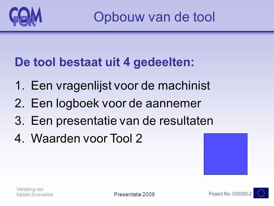 Vertaling van Miriam Zweverink Project No. 030300-2 Presentatie 2009 Opbouw van de tool De tool bestaat uit 4 gedeelten: 1.Een vragenlijst voor de mac