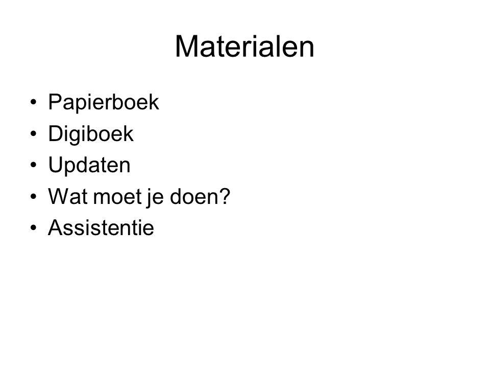 Materialen Papierboek Digiboek Updaten Wat moet je doen? Assistentie