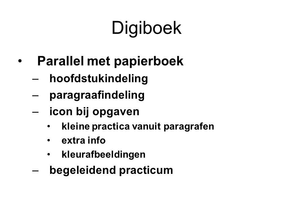 Digiboek Parallel met papierboek –hoofdstukindeling –paragraafindeling –icon bij opgaven kleine practica vanuit paragrafen extra info kleurafbeeldinge