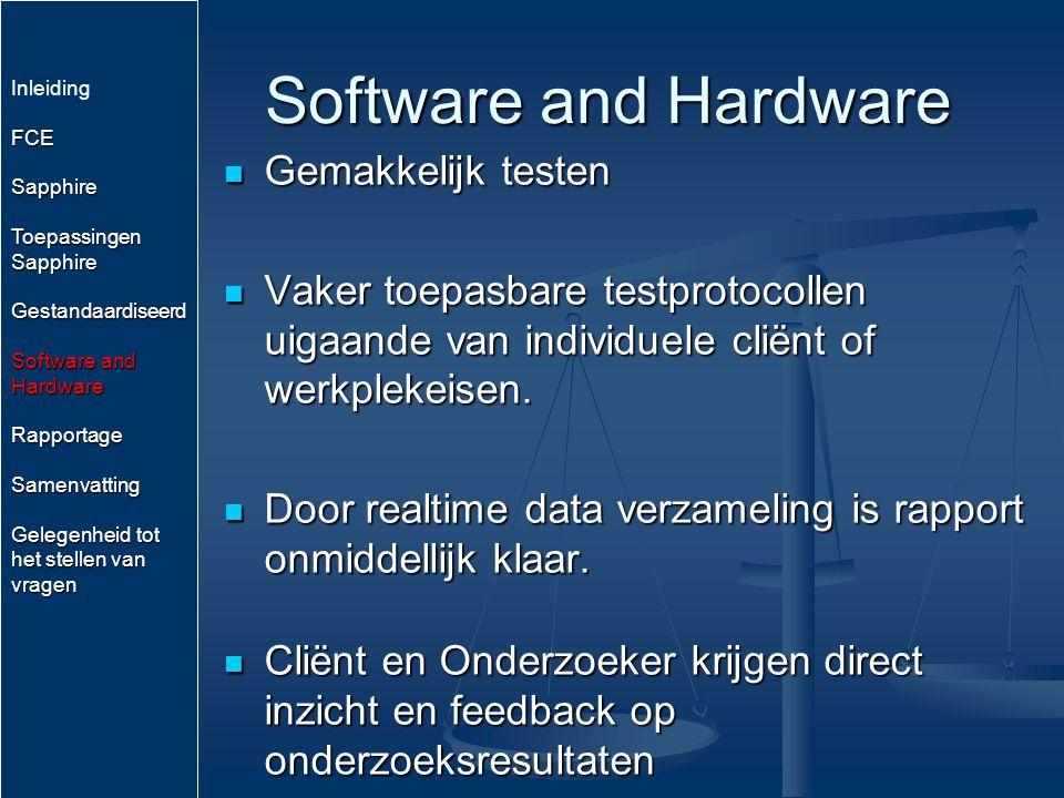 Software and Hardware Gemakkelijk testen Gemakkelijk testen Vaker toepasbare testprotocollen uigaande van individuele cliënt of werkplekeisen. Vaker t