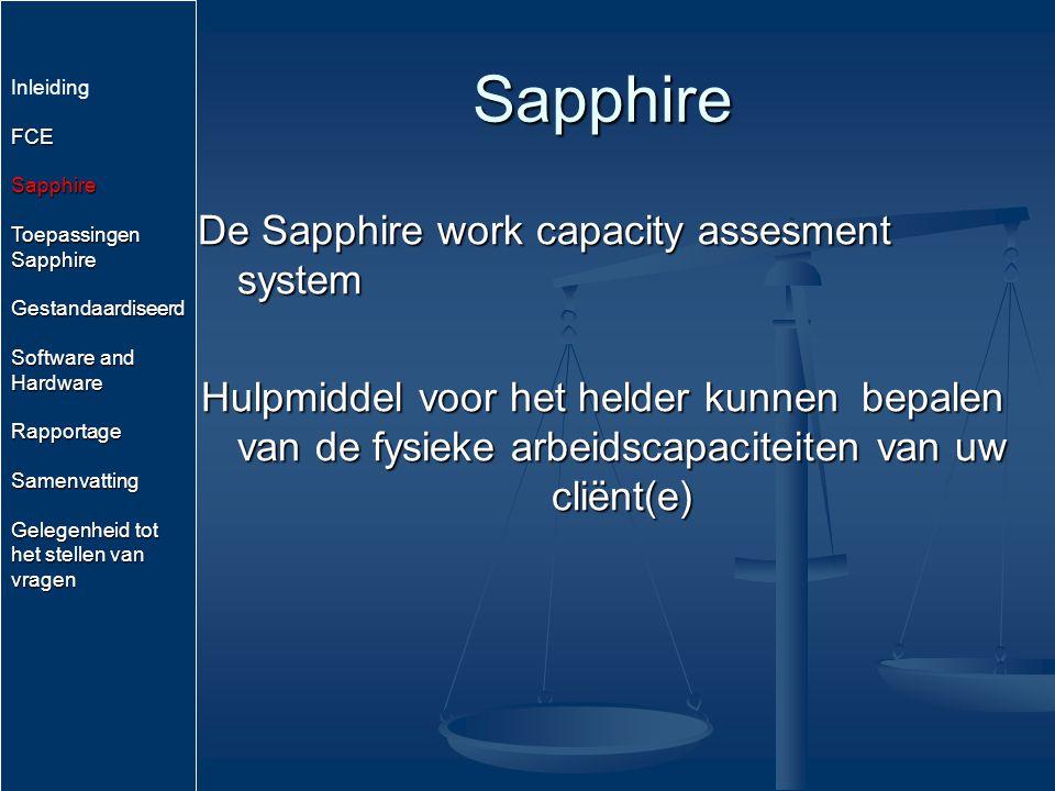 Sapphire De Sapphire work capacity assesment system Hulpmiddel voor het helder kunnen bepalen van de fysieke arbeidscapaciteiten van uw cliënt(e) Inle