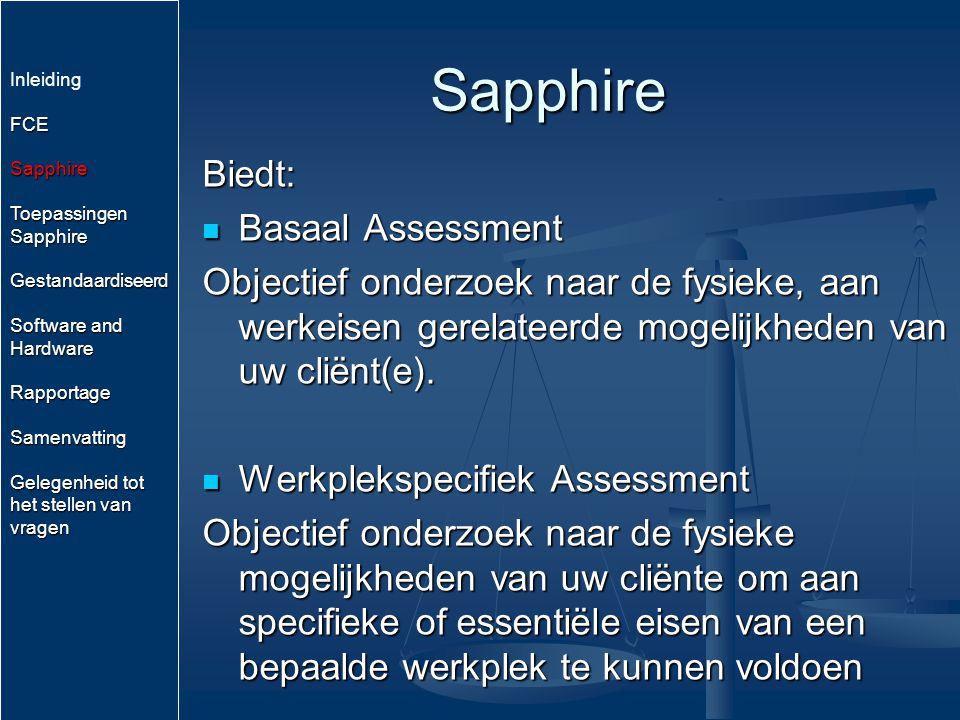 Toepassingen Sapphire Arbeids (Re)Integratie Arbeids (Re)Integratie Pre –en Post Employement Screening Pre –en Post Employement Screening Objectief vastleggen en kwantificeren van (Werkgerelateerde) Therapie.