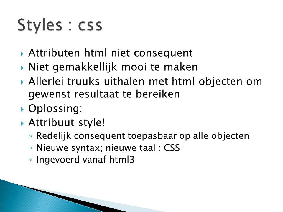  Attributen html niet consequent  Niet gemakkellijk mooi te maken  Allerlei truuks uithalen met html objecten om gewenst resultaat te bereiken  Op