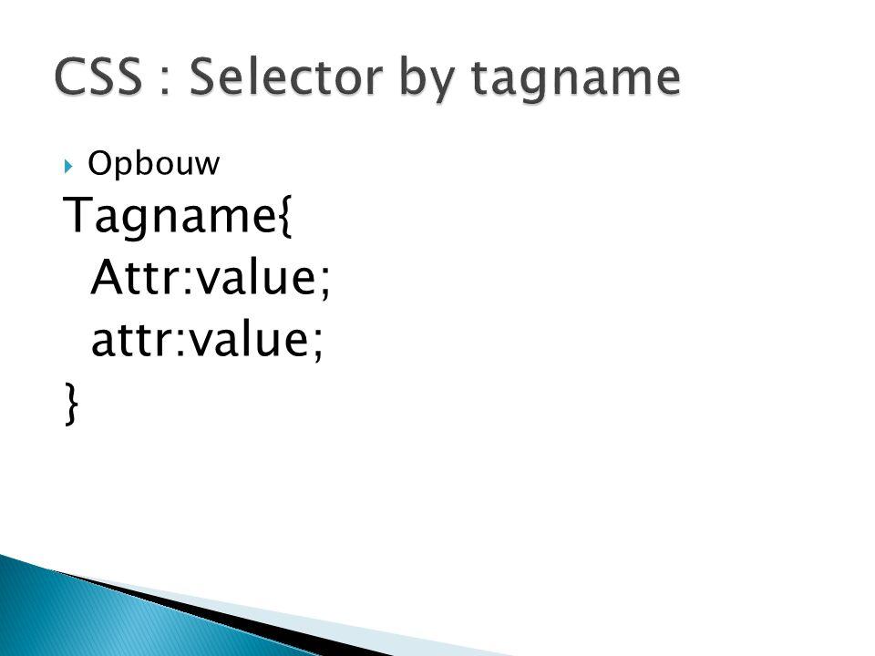  Opbouw Tagname{ Attr:value; attr:value; }