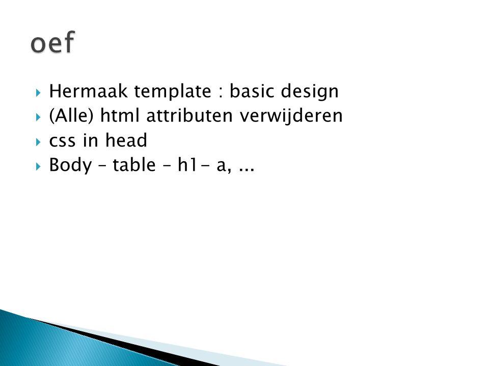  Hermaak template : basic design  (Alle) html attributen verwijderen  css in head  Body – table – h1- a,...