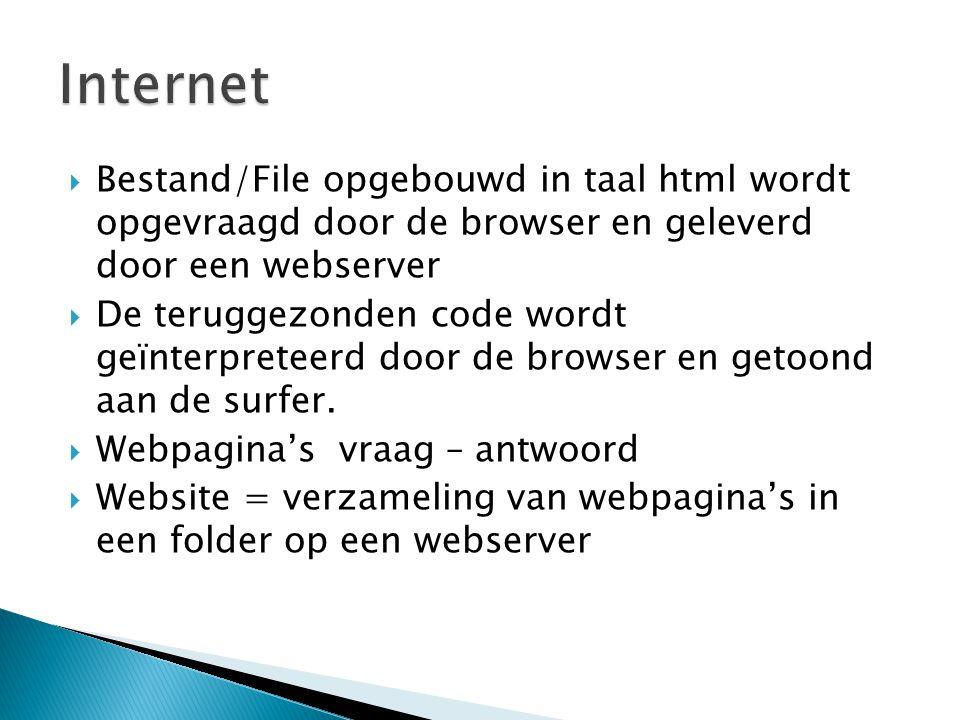  Bestand/File opgebouwd in taal html wordt opgevraagd door de browser en geleverd door een webserver  De teruggezonden code wordt geïnterpreteerd do