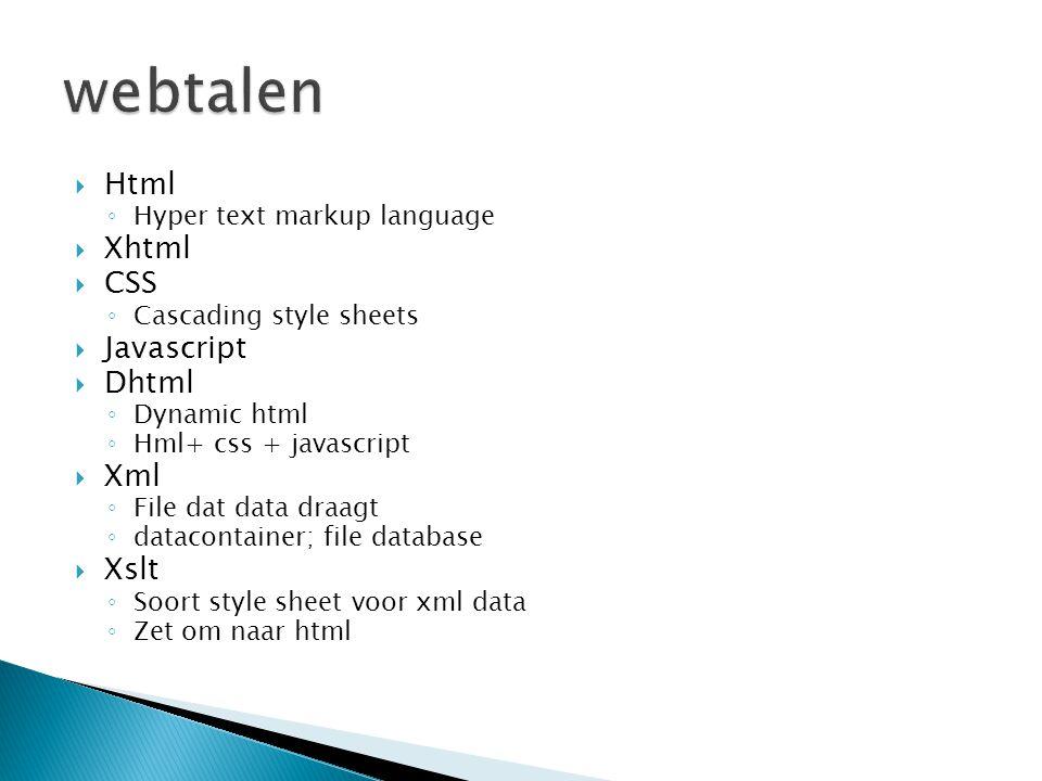  Html ◦ Hyper text markup language  Xhtml  CSS ◦ Cascading style sheets  Javascript  Dhtml ◦ Dynamic html ◦ Hml+ css + javascript  Xml ◦ File da