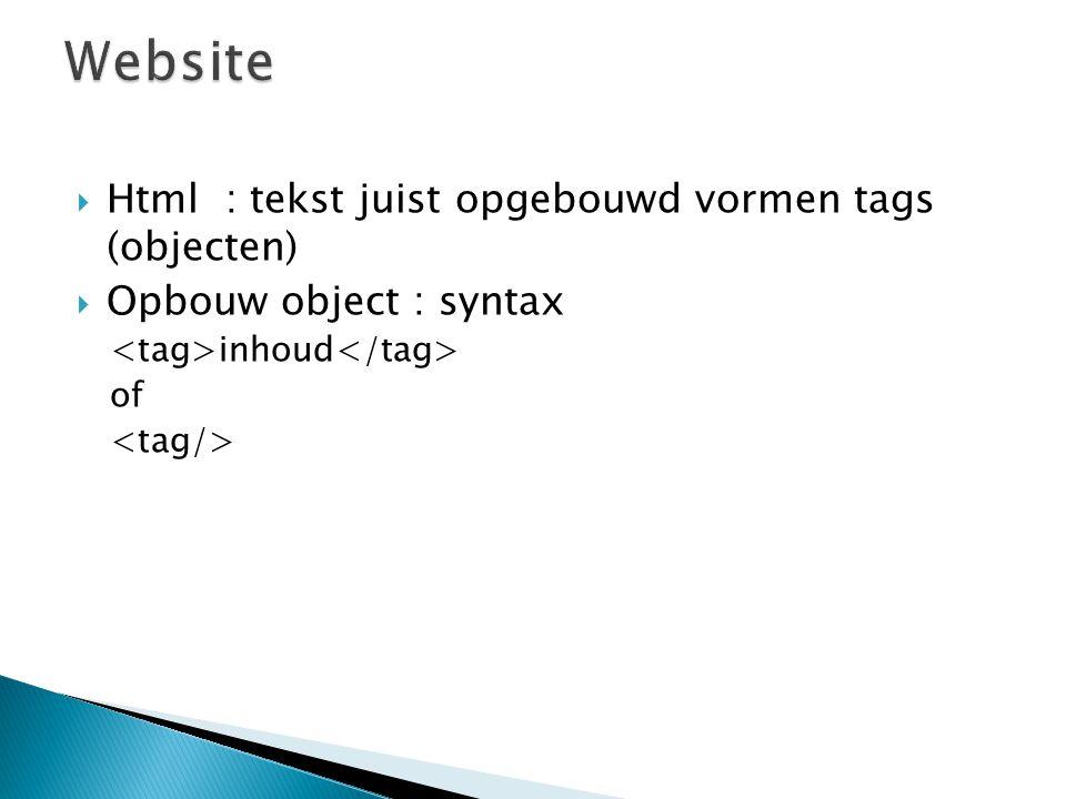  Html : tekst juist opgebouwd vormen tags (objecten)  Opbouw object : syntax inhoud of