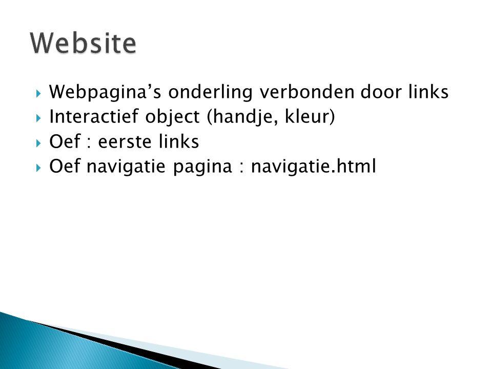  Webpagina's onderling verbonden door links  Interactief object (handje, kleur)  Oef : eerste links  Oef navigatie pagina : navigatie.html
