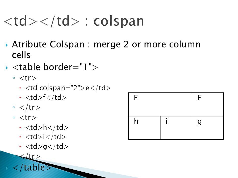 : colspan  Atribute Colspan : merge 2 or more column cells  ◦  e  f ◦  h  i  g ◦  EF hig
