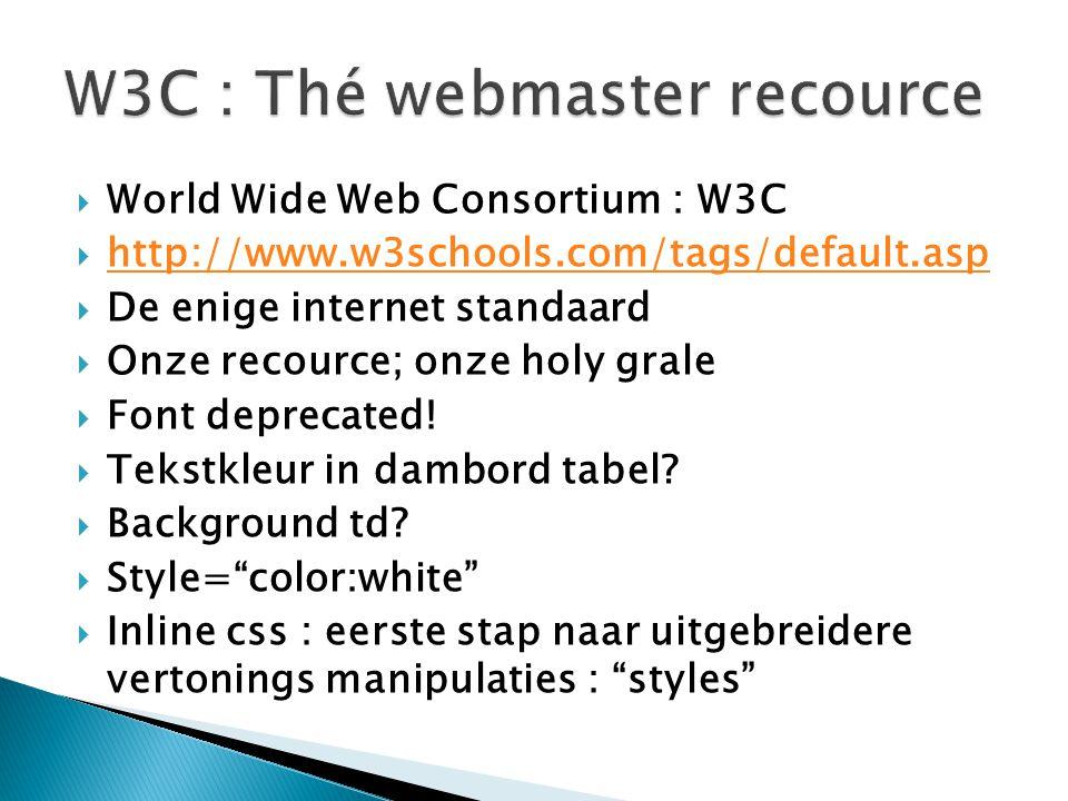  World Wide Web Consortium : W3C  http://www.w3schools.com/tags/default.asp http://www.w3schools.com/tags/default.asp  De enige internet standaard  Onze recource; onze holy grale  Font deprecated.