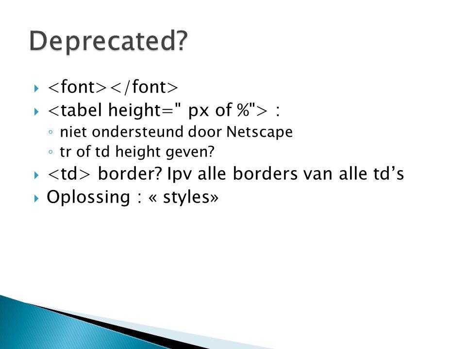   : ◦ niet ondersteund door Netscape ◦ tr of td height geven?  border? Ipv alle borders van alle td's  Oplossing : « styles»