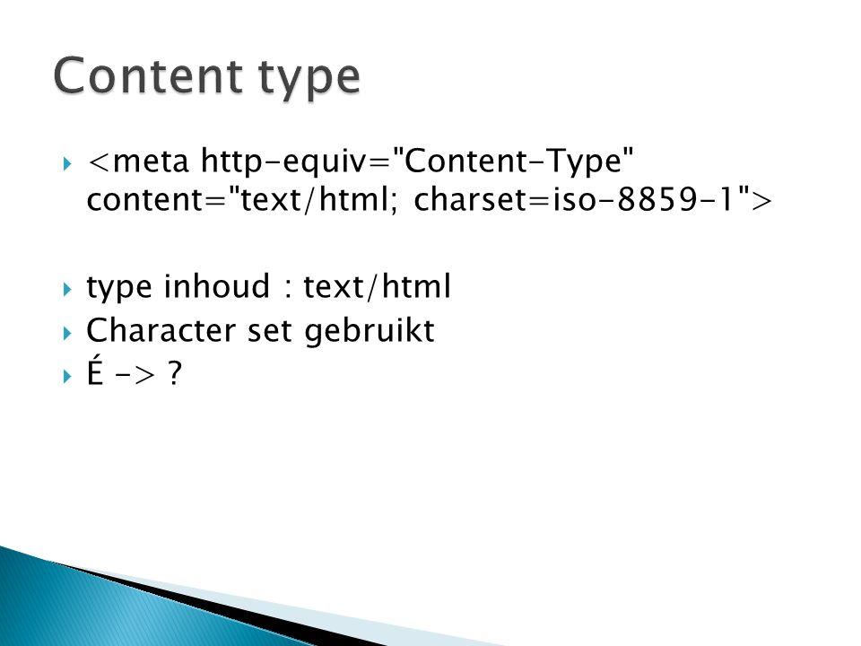  type inhoud : text/html  Character set gebruikt  É -> ?