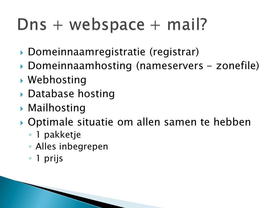  Domeinnaamregistratie (registrar)  Domeinnaamhosting (nameservers - zonefile)  Webhosting  Database hosting  Mailhosting  Optimale situatie om