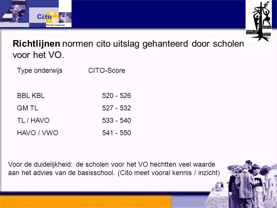Informatie avond – CITO 11-01-06 Type onderwijs CITO-Score BBL KBL 520 - 526 GM TL 527 - 532 TL / HAVO 533 - 540 HAVO / VWO 541 - 550 Richtlijnen norm