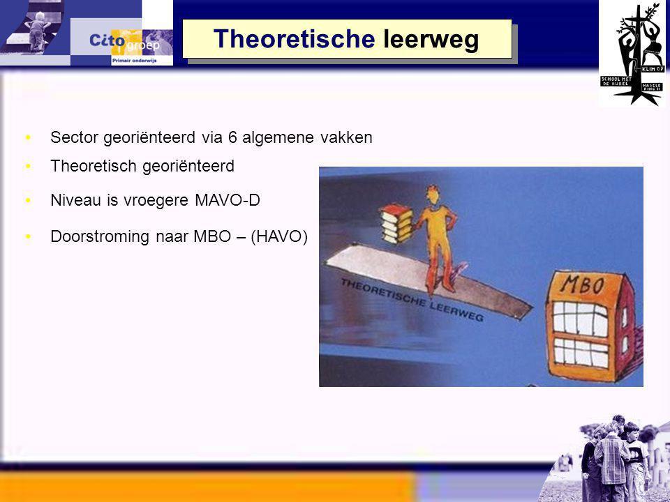 VMBO - Theoretisch –6 algemene vakken –niveau zoals mavo - D VMBO – Gemengd –5 algemene vakken –1 beroepsgericht vak VMBO – Kaderberoepsgericht –4 alg
