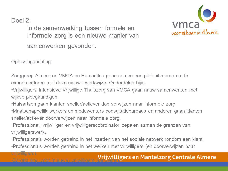 Doel 2: In de samenwerking tussen formele en informele zorg is een nieuwe manier van samenwerken gevonden. Oplossingsrichting: Zorggroep Almere en VMC