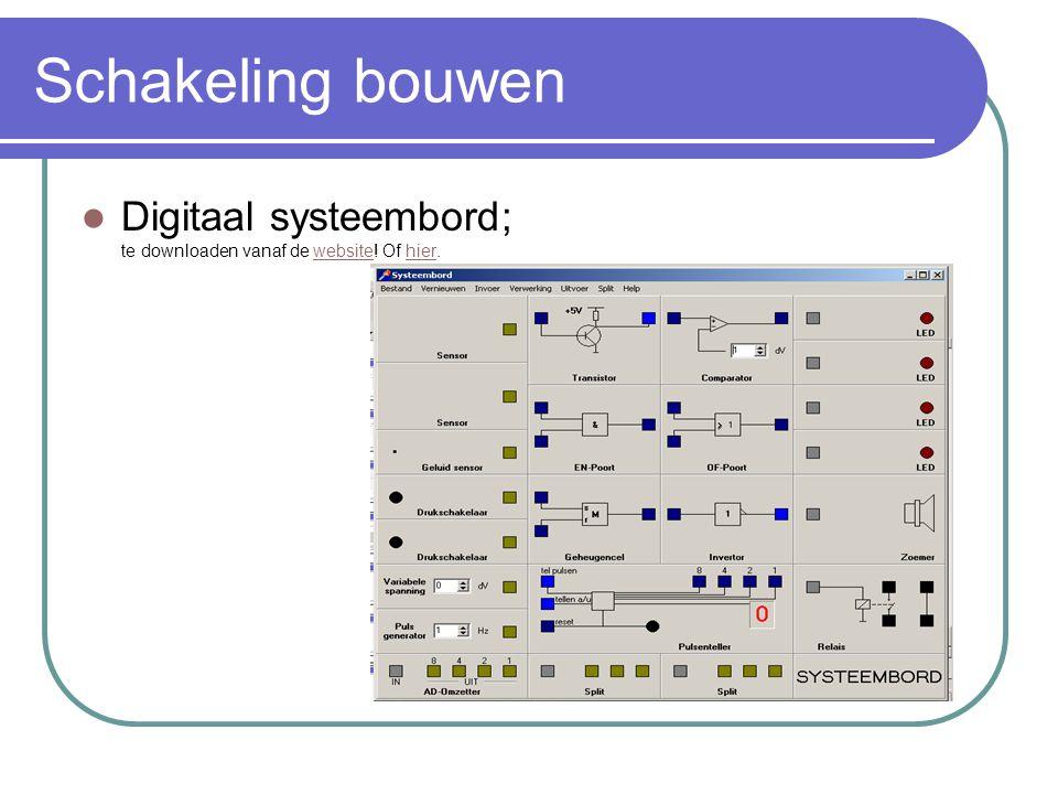 Schakeling bouwen Digitaal systeembord; te downloaden vanaf de website! Of hier.websitehier