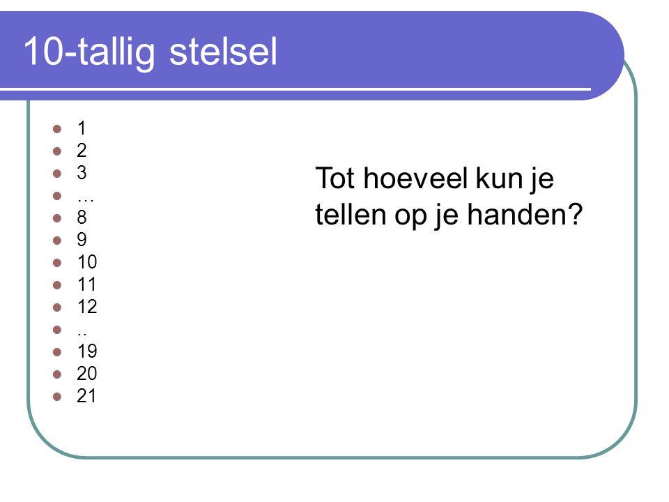 10-tallig stelsel 1 2 3 … 8 9 10 11 12.. 19 20 21 Tot hoeveel kun je tellen op je handen?