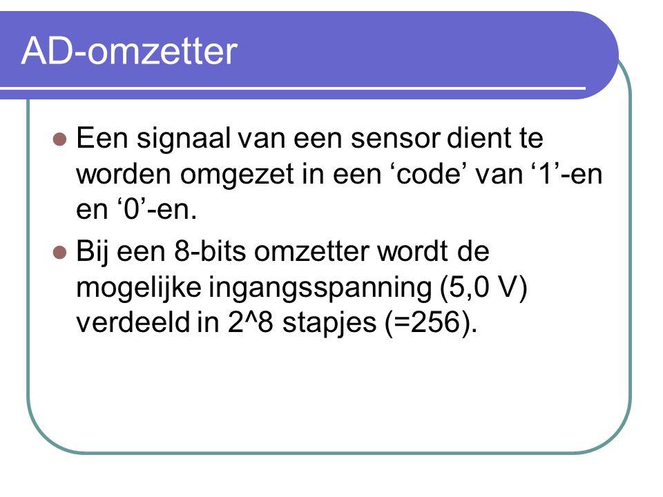 AD-omzetter Een signaal van een sensor dient te worden omgezet in een 'code' van '1'-en en '0'-en. Bij een 8-bits omzetter wordt de mogelijke ingangss