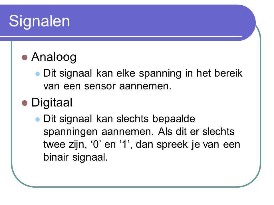 Signalen Analoog Dit signaal kan elke spanning in het bereik van een sensor aannemen. Digitaal Dit signaal kan slechts bepaalde spanningen aannemen. A
