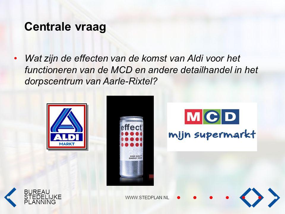 BUREAU STEDELIJKE PLANNING WWW.STEDPLAN.NL Centrale vraag Wat zijn de effecten van de komst van Aldi voor het functioneren van de MCD en andere detail