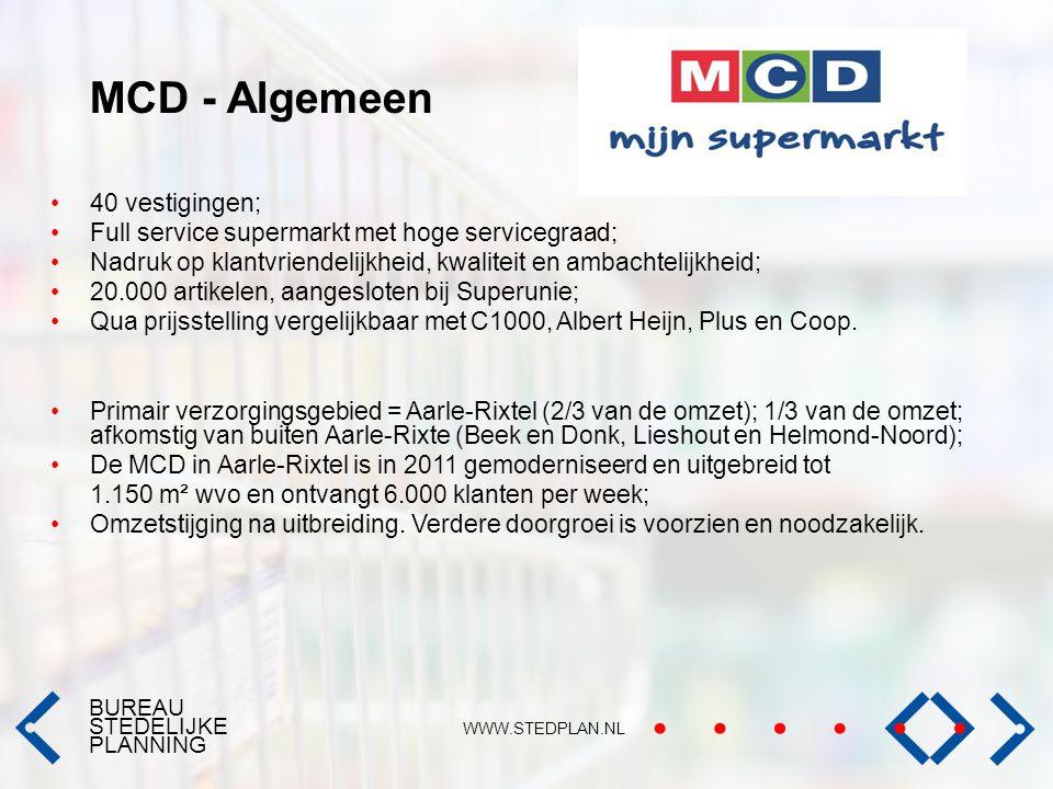 BUREAU STEDELIJKE PLANNING WWW.STEDPLAN.NL MCD - Algemeen 40 vestigingen; Full service supermarkt met hoge servicegraad; Nadruk op klantvriendelijkhei