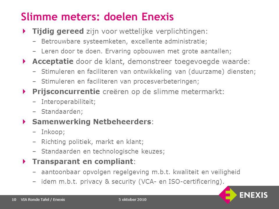 5 oktober 2010VIA Ronde Tafel / Enexis10 Slimme meters: doelen Enexis Tijdig gereed zijn voor wettelijke verplichtingen: –Betrouwbare systeemketen, ex