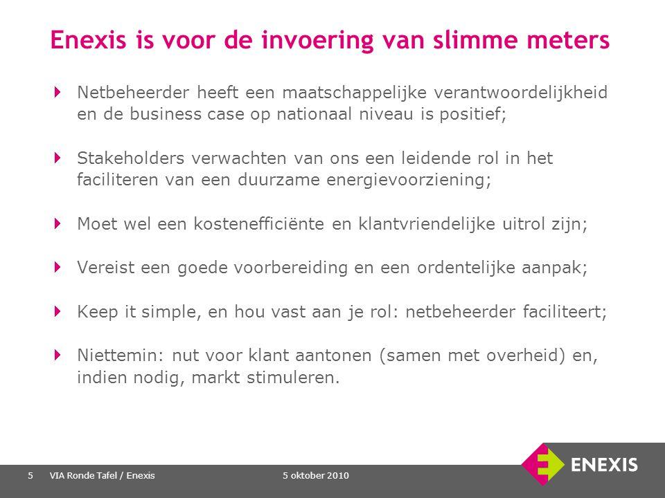 5 oktober 2010VIA Ronde Tafel / Enexis5 Enexis is voor de invoering van slimme meters Netbeheerder heeft een maatschappelijke verantwoordelijkheid en