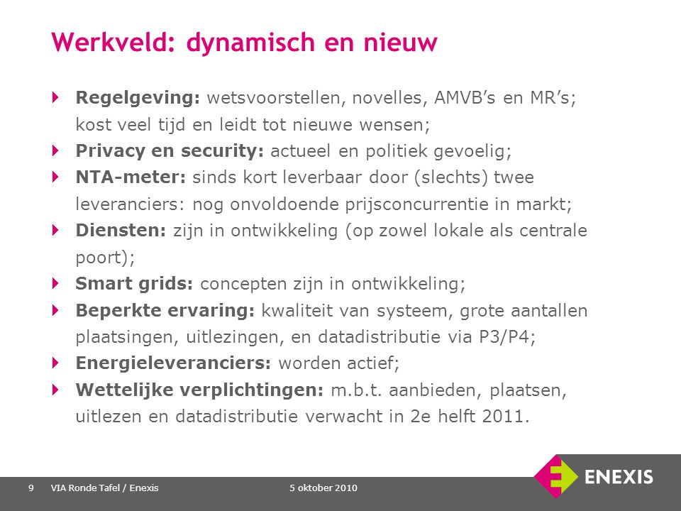 5 oktober 2010VIA Ronde Tafel / Enexis9 Werkveld: dynamisch en nieuw Regelgeving: wetsvoorstellen, novelles, AMVB's en MR's; kost veel tijd en leidt t