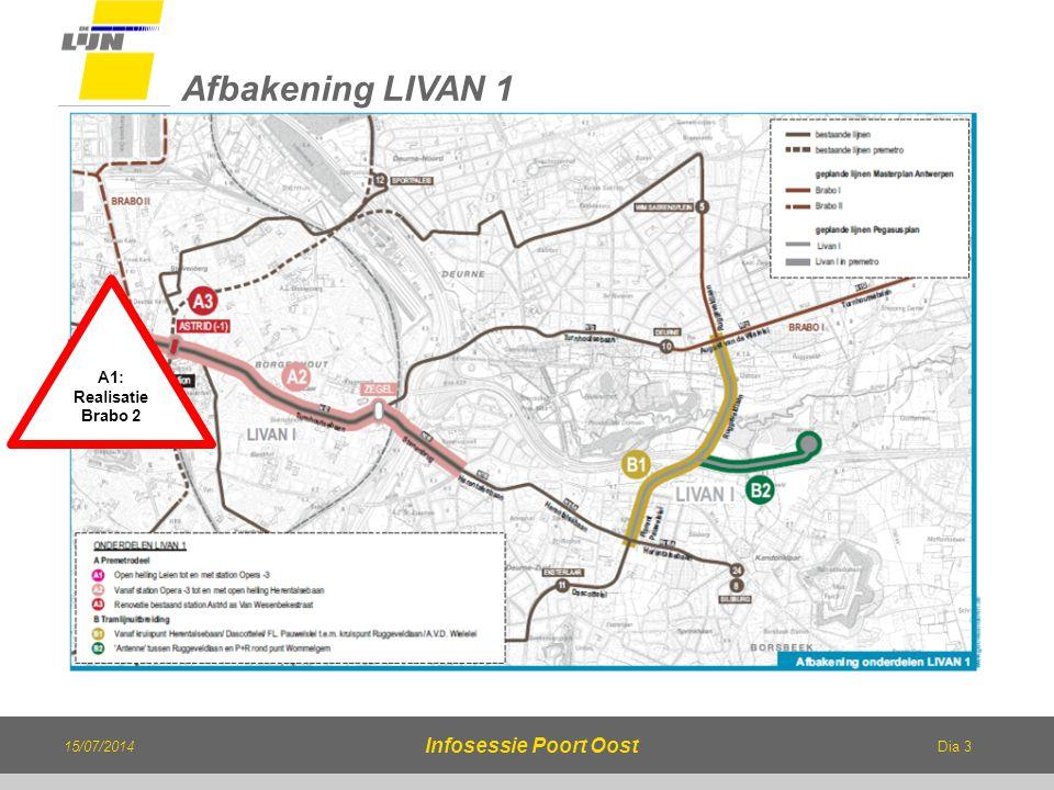 Dia 3 15/07/2014 Infosessie Poort Oost Afbakening LIVAN 1 A1: Realisatie Brabo 2