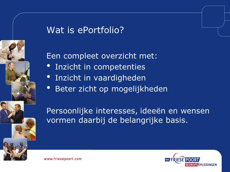 Hoe wordt gewerkt.(1) Het ePortfolio wordt digitaal gevuld door de deelnemer.