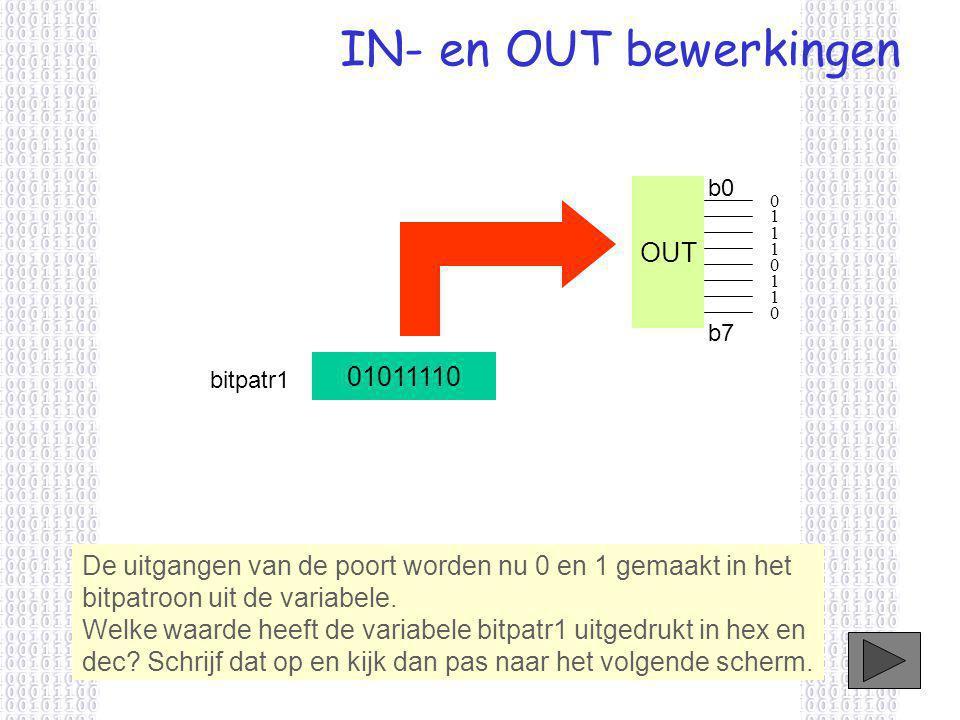 IN- en OUT bewerkingen De uitgangen van de poort worden nu 0 en 1 gemaakt in het bitpatroon uit de variabele.