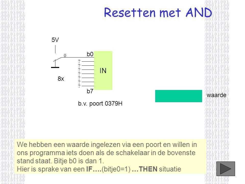 Resetten met AND IN 5V 8x b.v.poort 0379H b0 b7 0 .