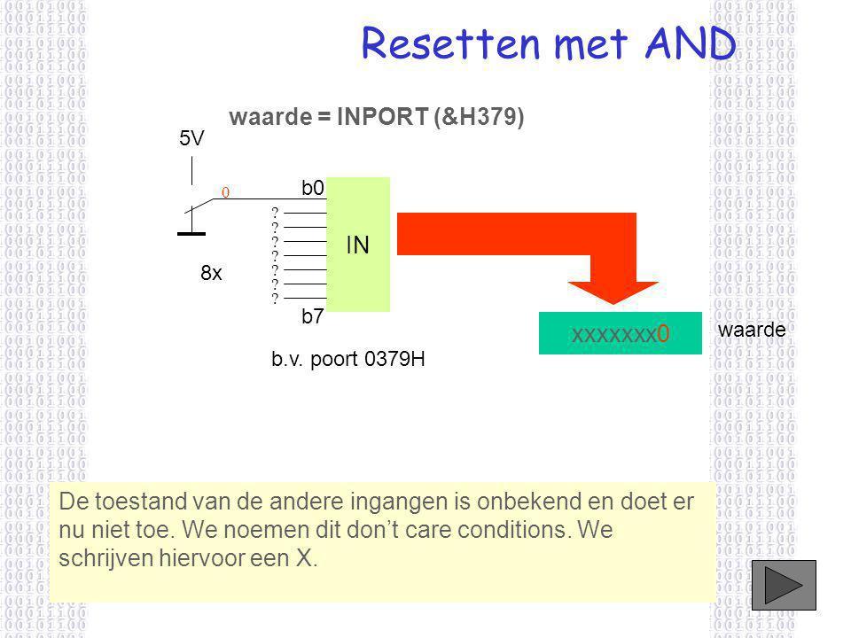 Resetten met AND IN xxxxxxx0 5V 8x b.v. poort 0379H b0 b7 0 ? ? ? ? ? ? ? De toestand van de andere ingangen is onbekend en doet er nu niet toe. We no