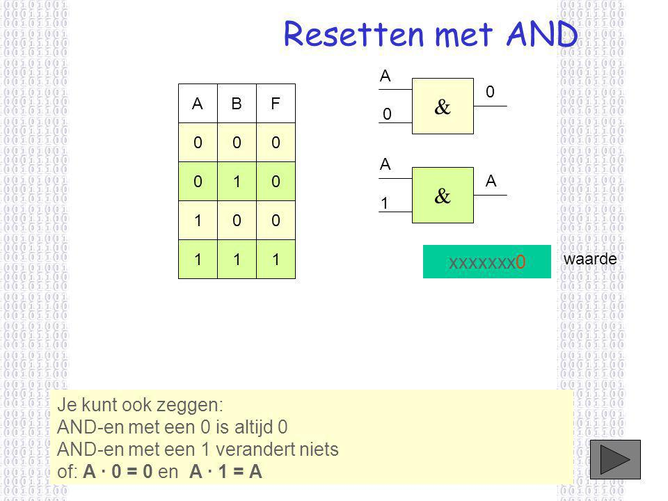 Resetten met AND xxxxxxx0 Je kunt ook zeggen: AND-en met een 0 is altijd 0 AND-en met een 1 verandert niets of: A · 0 = 0 en A · 1 = A waarde & A 0 0 ABF 000 010 100 111 & A 1 A