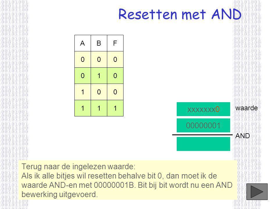 Resetten met AND xxxxxxx0 Terug naar de ingelezen waarde: Als ik alle bitjes wil resetten behalve bit 0, dan moet ik de waarde AND-en met 00000001B.