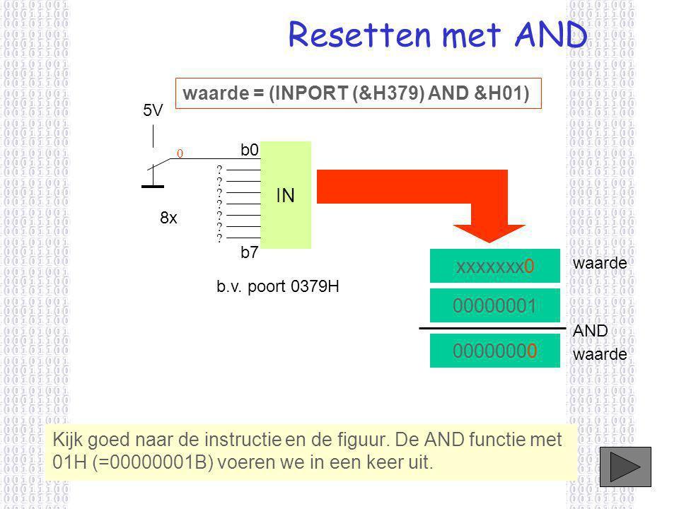 Resetten met AND 00000001 AND 00000000 Kijk goed naar de instructie en de figuur.