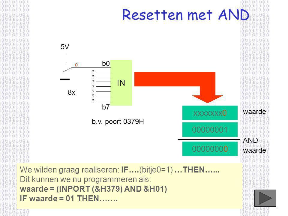 Resetten met AND 00000001 AND 00000000 We wilden graag realiseren: IF….(bitje0=1) …THEN…...