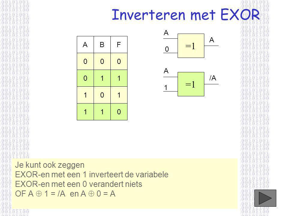 Inverteren met EXOR Je kunt ook zeggen EXOR-en met een 1 inverteert de variabele EXOR-en met een 0 verandert niets OF A  1 = /A en A  0 = A =1 A 0 ABF 000 011 101 110 A 1 /A A