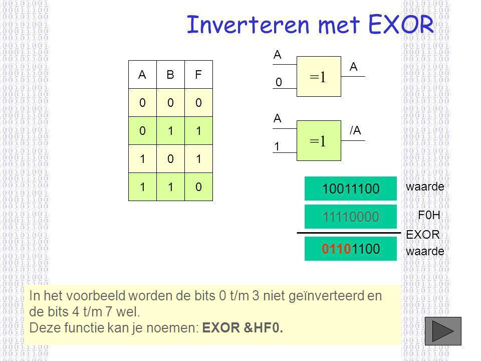 Inverteren met EXOR In het voorbeeld worden de bits 0 t/m 3 niet geïnverteerd en de bits 4 t/m 7 wel.
