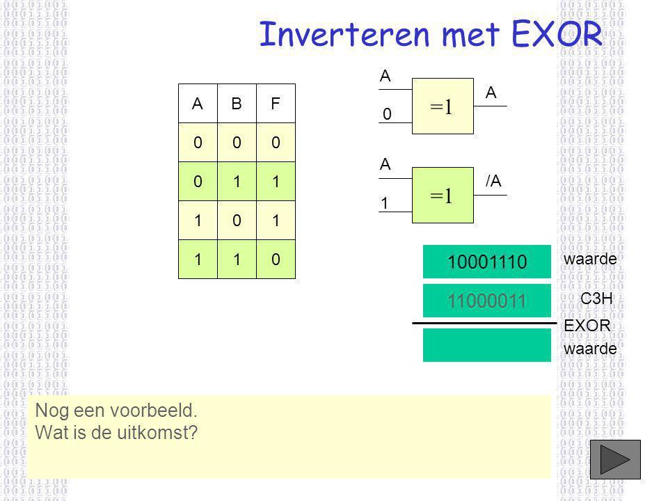 Inverteren met EXOR Nog een voorbeeld.Wat is de uitkomst.