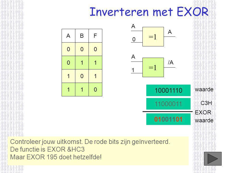 Inverteren met EXOR Controleer jouw uitkomst.De rode bits zijn geïnverteerd.