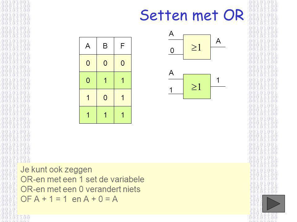Setten met OR Je kunt ook zeggen OR-en met een 1 set de variabele OR-en met een 0 verandert niets OF A + 1 = 1 en A + 0 = A 11 A 0 ABF 000 011 101 111 11 A 1 1 A
